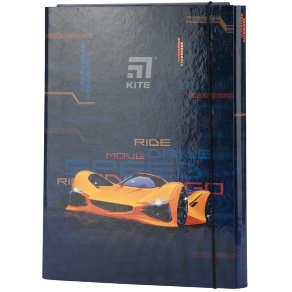 Папка для труда А4, на резинке, Kite Fast Cars ламинированный картон, K20-213-02