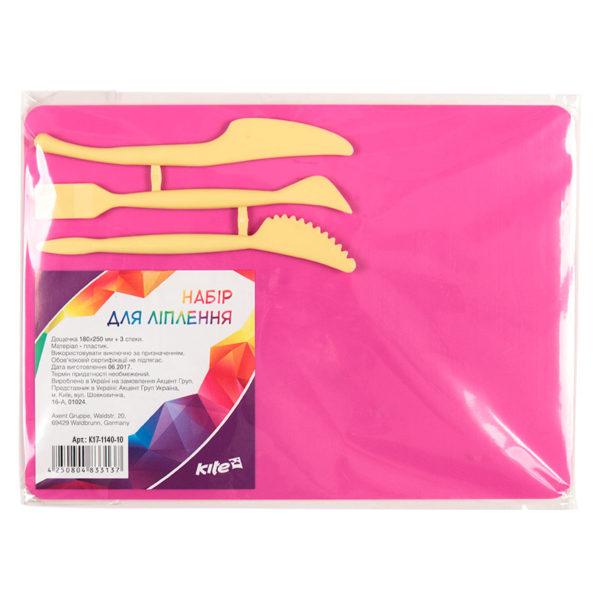 Доска для пластилина со стеками, 3 инструмента, 180х250мм, розовый