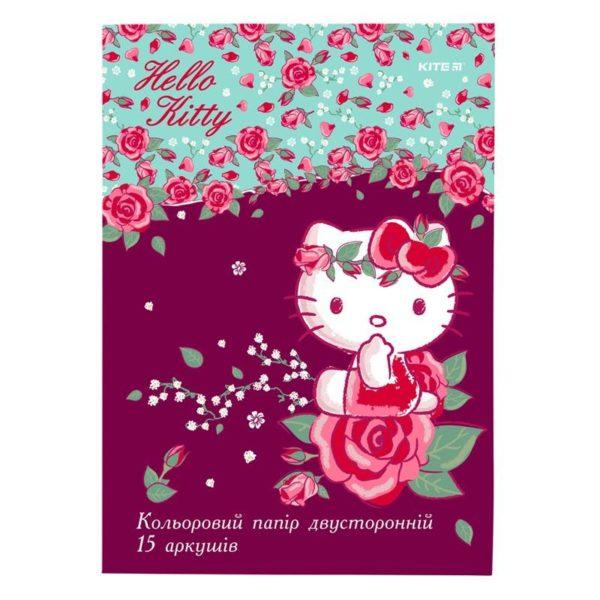 Бумага цветная, двусторонняя 15 листов, 15 цветов, 80г/м, А4 Kite Hello Kitty HK19-250