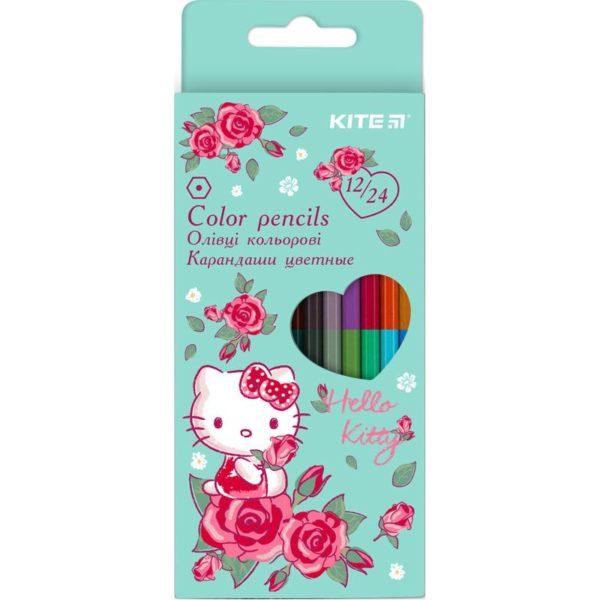 Карандаши цветные двусторонние Hello Kitty, 12 шт. 24 цвета, HK20-054