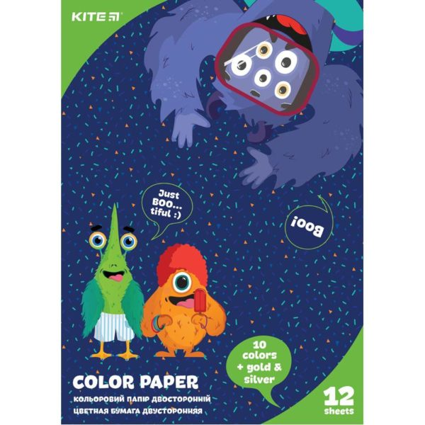 Бумага цветная, двусторонняя 12листов, 12 цветов, 80г/м, А4 Kite Jolliers K20-287