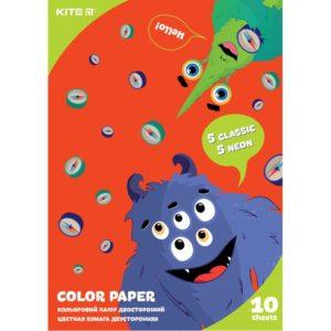 Бумага цветная, двусторонняя 10 листов, 10 цветов (5 простых+5 неон), 80г/м, А4