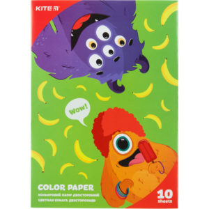Бумага цветная, двусторонняя 10листов, 10 цветов, 80г/м, А5 Kite Jolliers K20-293