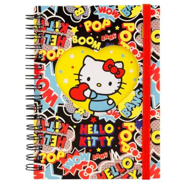 Блокнот на пружине с резиночкой Kite Hello Kitty А6, 80 листов, клетка HK19-229