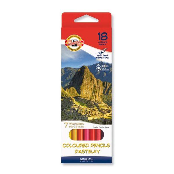 Карандаши цветные KOH-I-NOOR 7 Чудес, 18 цветов, 3653018027KS