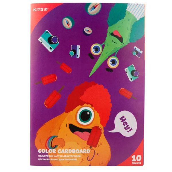 Картон цветной, двусторонний 10 листов, 10 цветов, А4 Kite Jolliers K19-255