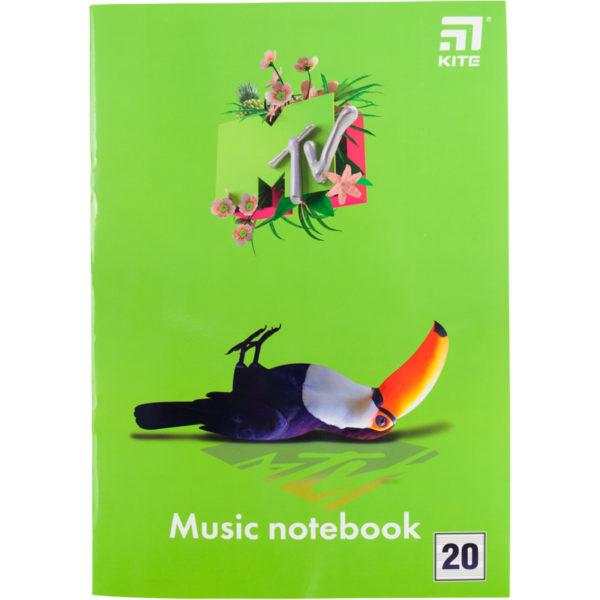 Тетрадь для нот А4, 20 листов, на скобе Kite MTV-1, MTV20-404-1