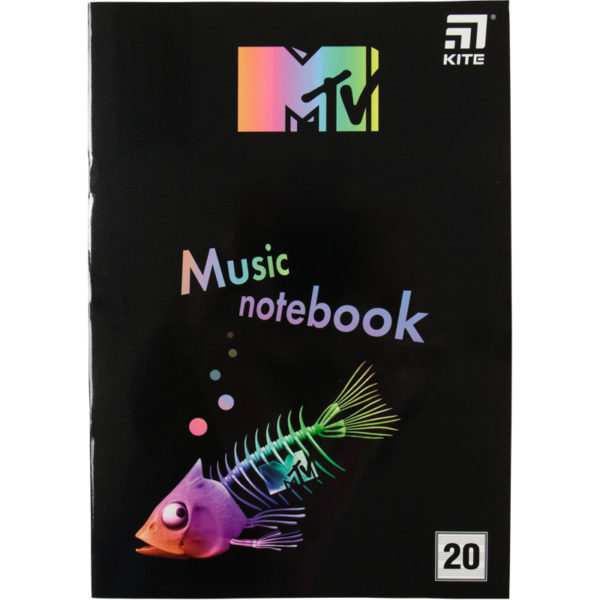 Тетрадь для нот А4, 20 листов, на скобе Kite MTV-2, MTV20-404-2