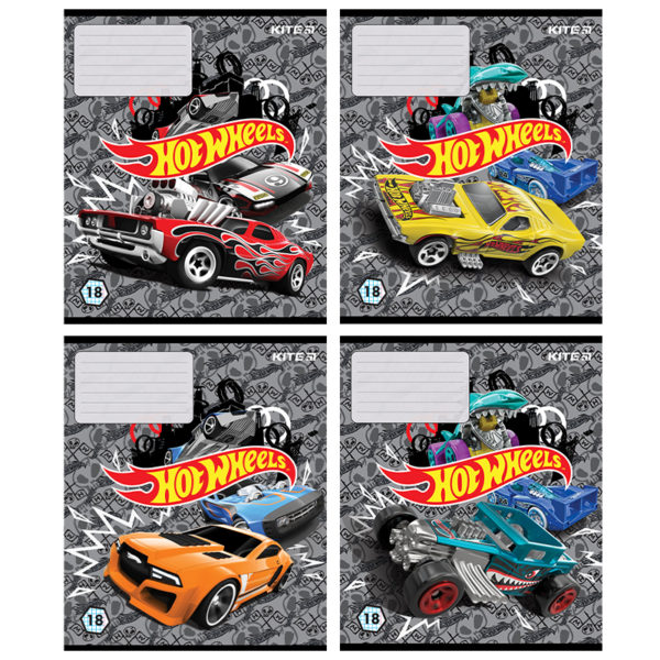 Тетрадь школьная Kite Hot Wheels, 18 листов, клетка HW20-236