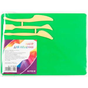 Доска для пластилина со стеками, 3 инструмента, 180х250мм, зеленый K17-1140-04