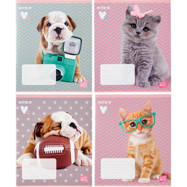 Тетрадь школьная Kite Studio Pets, 12 листов, в косую линию, SP20-235