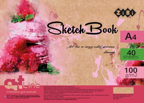 Альбом (скетчбук) для рисования ZIBI ART LINE 40 листов, на пружине, белый блок,