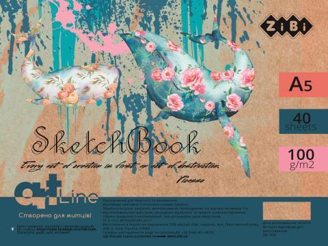 Альбом А5(скетчбук) для рисования ZIBI ART LINE 40 листов, на пружине, белый блок,