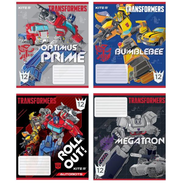 Тетрадь школьная Kite Transformers, 12 листов, в косую линию, TF20-235