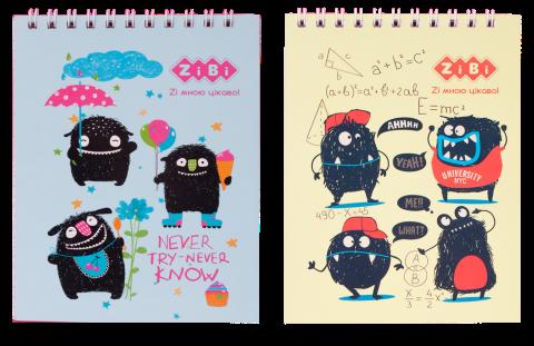 Блокнот, детский MONSTERS, формат А6, 40л, на пружине, картонная обложка, в клетку ZB.12151