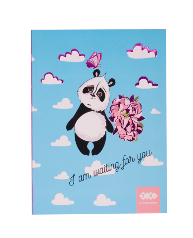 Блокнот KIDS Line SWEET Panda, 150 x 202 мм, 64 листа, клетка, мягкая обложка, голубой ZB.12768-14
