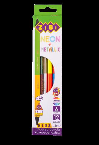 Карандаши цветные двусторонние KIDS LINE NEON+METALLIC, 6 штук, 12 цветов, ZB.2465