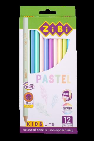 Карандаши цветные KIDS LINE PASTEL, 12 цветов, ZB.2470