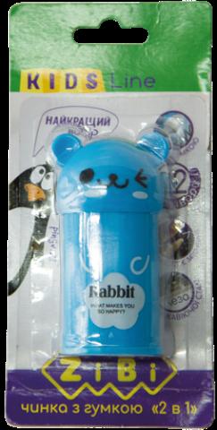 Точилка ZiBi ANIMAL с контейнером, 2 отверстия, голубая + резинка, блистер ZB.5594-1