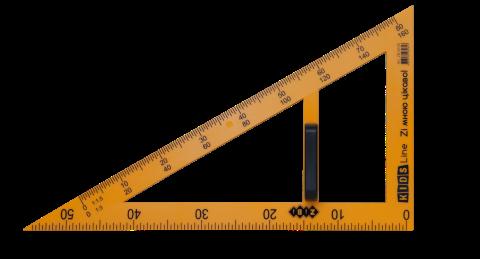 Угольник KIDS Line TEACHER  90°/60° для школьной доски 50 см, желтый, ZB.5638