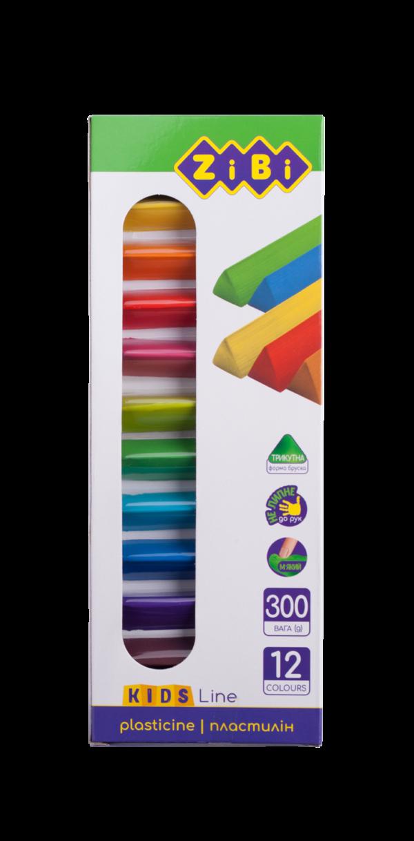 Пластилин восковый треугольный KIDS Line 12 цветов, 300г.  ZB.6227