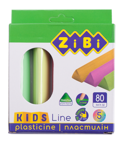 Пластилин восковый треугольный KIDS Line 5 цветов неон, 80 г, ZB.6229
