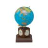 Глобус политический GOLD на деревянной подставке, с часами, красное дерево