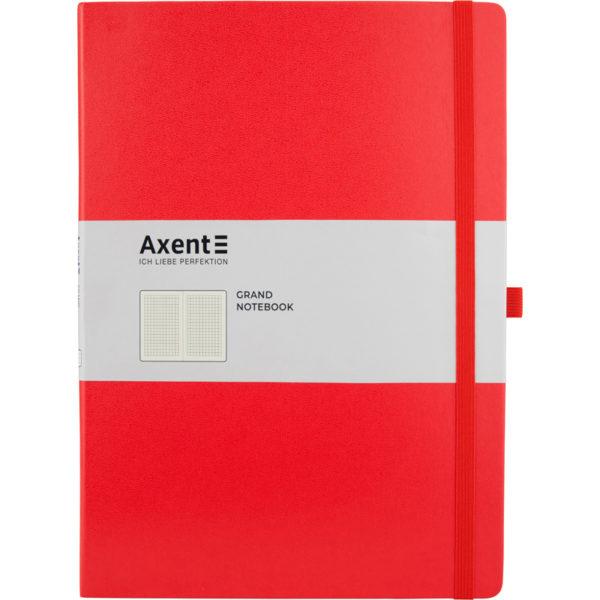 Записная книжка Partner Grand, А4, 100л, тв. винил. обл., клетка, крем.блок, на резинке, красный