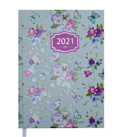 Ежедневник А5 датированный 2021 BLOSSOM бирюзовый