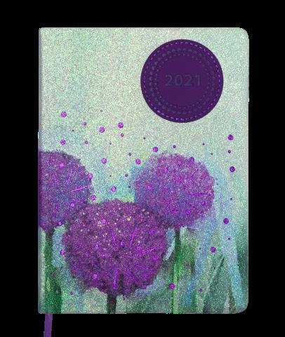 Ежедневник А5 датированный 2021 CHERIE фиолетовый, гибкая обложка, тонированный срез