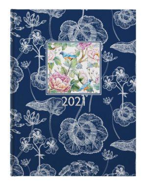 Ежедневник датированный 2021 FLORA, А5, синий