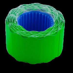 Ценник 26×12 мм (500 шт, 6 м), фигурный, внешняя намотка, зеленый, 10шт/туба