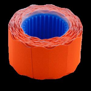 Ценник 26×12 мм (500 шт, 6 м), фигурный, внешняя намотка, оранжевый, 10шт/туба
