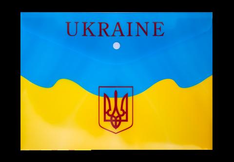 Папка-конверт на кнопке А4, UKRAINE, желтый