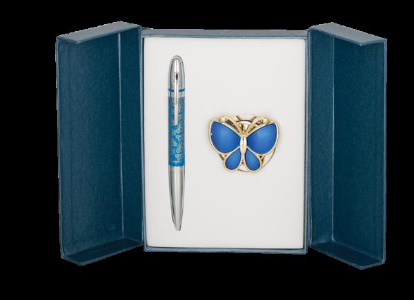 """Набор подарочный """"Papillon"""" : ручка шариковая + крючок для сумки, синий"""