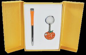 """Набор подарочный """"Apple"""": ручка шариковая + брелок, оранжевый"""