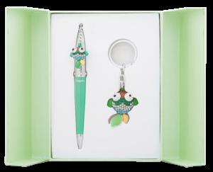 """Набор подарочный """"Goldfish"""": ручка шариковая + брелок, зеленый"""