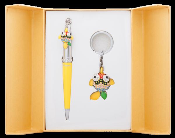 """Набор подарочный """"Goldfish"""": ручка шариковая + брелок, желтый"""