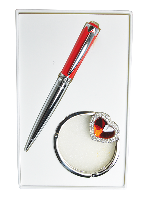 """Набор подарочный """"Crystal"""" : ручка шариковая + крючок для сумки, красный"""