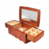 Шкатулка для украшений двухъярусная King Wood 15х24х10 см с зеркалом,  орех