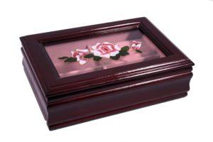 Шкатулка для украшений одноярусная King Wood 18,5х12,5х6 см., коричневая