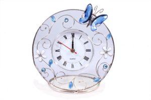 """Часы настольные Charme de Femme """"Синяя бабочка"""" 14х14 см"""