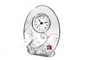 """Часы настольные Charme de Femme """"Колокольчики и зеркальная бабочка"""" 15х15 см"""