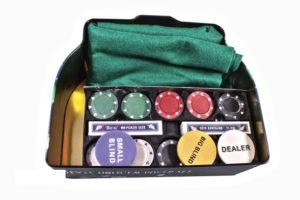 Набор Duke для игры в покер в оловянной коробке (200 фишек, 2 колоды карт)