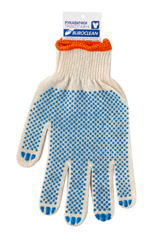 Перчатки белые BuroClean ECO с ПВХ точкой, 3 нити