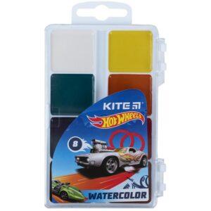 Акварельные медовые краски 8 цветов, б/кисточки Hot Wheels HW21-065, пласт. упак.