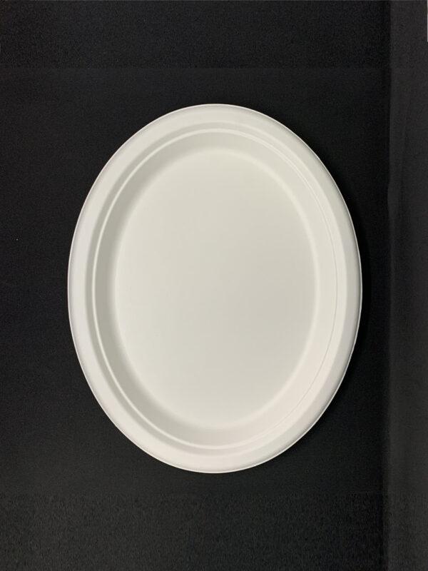 Тарелка бумажная, овальная Эко 26х20см белая, 125шт