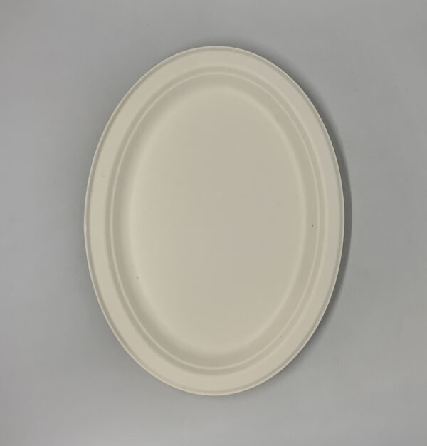 Тарелка бумажная, овальная Эко 32х26см белая, 125шт