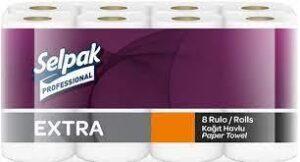 Полотенца целлюлозные SELPAK Рro Extra 8 рулонов, 2 слоя, белые