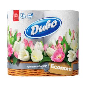 Туалетная бумага Диво Эконом Обухов 2 слоя, 8 рулонов, белая